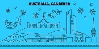 Australia, Canberra winter holidays skyline. Merry Christmas, Happy New Year decorated banner with Santa Claus.Flat. Australia, Canberra winter holidays skyline royalty free illustration