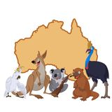 Australia with cartoon animals Stock Photography