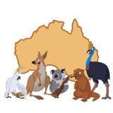 Australia with cartoon animals Stock Photography