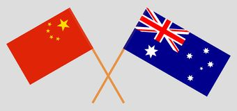 Australia and China. The Australian and Chinese flags. Official colors. Correct proportion. Vector. Illustrationn royalty free illustration