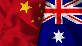 Australia and China Flag - 3D illustration Two Flag. Realistic Two Flag Together High Quality stock illustration