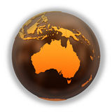 Australia on chocolate Earth Royalty Free Stock Photography