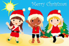 Australia Christmas girls. Vector illustration about Australia summer Christmas Stock Images