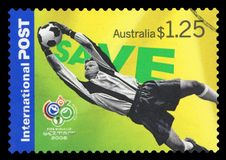 AUSTRALIA - Postage Stamp. AUSTRALIA - CIRCA 2006: An Australian Used Postage Stamp showing Football World Cup in Germany 2006, circa 2006 stock image
