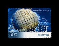 Solar power station on blue sky with clouds, solar renewable energy, Australia, circa 2004, Stock Photography
