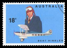 AUSTRALIA - Postage Stamp. AUSTRALIA - CIRCA 1978:A Cancelled postage stamp from Australia illustrating Famous Australian Aviators, issued in 1978 stock photography