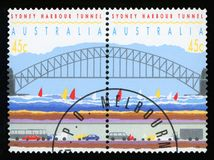 AUSTRALIA - postage stamp. AUSTRALIA - CIRCA 1992: a set of two stamps printed by AUSTRALIA shows Sydney Harbor Bridge and Tunnel, circa 1992 royalty free stock image