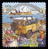 AUSTRALIA - Postage stamp. AUSTRALIA - CIRCA 2013: A stamp printed in Australia dedicated to the road trip, shows Sydney Harbour, NSW, Australia, circa 2013 royalty free stock photography
