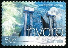 Postage stamp. AUSTRALIA - CIRCA 2004: stamp printed by Australia, shows Renewable Energy, Hydroelectric energy, circa 2004 royalty free stock photo