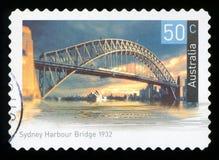 AUSTRALIA - postage stamp. AUSTRALIA - CIRCA 2004: A used postage stamp from Australia, depicting an image of Sydney Harbour Bridge in Australia, circa 2004 royalty free stock images