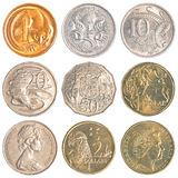 Australia circulating coins. Isolated on white background Royalty Free Stock Photo