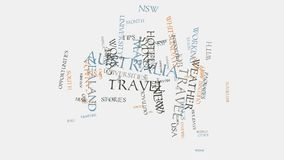 Australia cities travel hotels and tourism word cloud text typography animation. Australia cities sydney, melbourne, perth, brisbane, gold coast, adelaide stock video