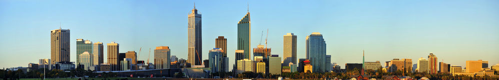 Australia City of Perth panoramic view. In Australia  a panoramic view of the modern Perth's city with the Swan river during day time Stock Photography