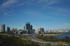 Australia City of Perth panoramic view. Australia  view of the modern Perths city with the Swan river Royalty Free Stock Photo