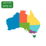 Australia color map with regions icon. Business cartography conc. Ept Australia pictogram. Vector illustration on white background Stock Photo