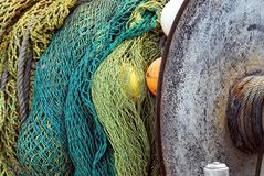 Australia- Colorful Fishing Nets Coiled on a Boat in Mirembu royalty free stock image