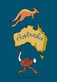Australia continent in doodle style. Ostrich and kangaroo, vector illustration for your design Royalty Free Stock Image