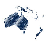 Australia continent. Map hand drawn background vector,illustration Stock Photography