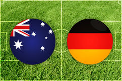 Australia contra partido de fútbol de Alemania Fotos de archivo
