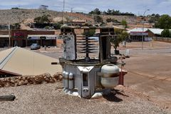 Australia, Coober Pedy, futuristic item. Coober Pedy, SA, Australia - November 14, 2017: Vehicle from former science fiction film set in the opal mining village stock photos