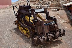 Australia, Coober Pedy, mining equipment. Australia, Coober Pedy, old tunneling machine for opal mining Stock Photos