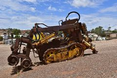 Australia, Coober Pedy. Coober Pedy, SA, Australia - November 14, 2017: Mining equipment tunneling machine in the opal village in South Australia Royalty Free Stock Images