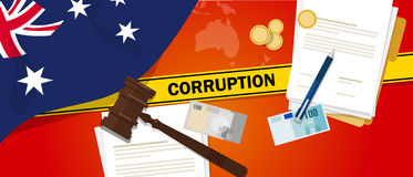 Australia corruption money bribery financial law contract police line for a case scandal government official. Vector Royalty Free Stock Images