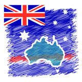 Australia Country Continent. Australia Flag and Country Map Continent Silhouette - abstract Background Vector Illustration. Australia map for Australia Day Stock Photography