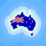 Australia Country Continent. Australia Flag and Country Map Continent Silhouette surrounded by the sea - Vector Illustration. Australia map for Australia Day Stock Images