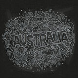 Australia country hand lettering and doodles elements Royalty Free Stock Photo