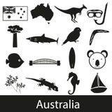 Australia country theme symbols stickers set Royalty Free Stock Photos