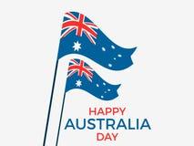 Australia día 26 de enero feliz Tarjeta de felicitación con la bandera de Australia, festividad nacional Vector libre illustration