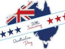 Australia día letras felices del 26 de enero Mapa de Australia con la bandera y las estrellas Huella digital libre illustration