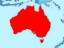 Australia on 3D map Royalty Free Stock Images