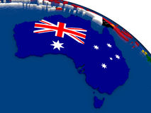 Australia on 3D map with flags Stock Image