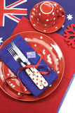 Australia Day, Anzac Day or Australian public holiday or national event dining table place setting - aerial. Australia Day, Anzac Day or Australian public royalty free stock photo