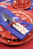 Australia Day, Anzac Day or Australian public holiday or national event dining table place setting close up Stock Photo