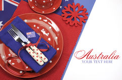 Australia Day, Anzac Day or Australian public holiday or national event dining table place setting with sample text Royalty Free Stock Images