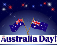 Australia Day background. Australia Day. Celebratory background with a banner, fireworks and flags. Vector Stock Images