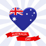 Australia Day background. Heart in colors of australian flag. Patriotic template for National celebration on 26 January Stock Photos