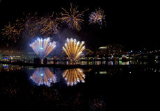 Australia Day celebration (Sydney). Fireworks, celebration for the Australia Day (Sydney, NSW Darling harbor Stock Photo