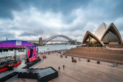 Australia Day Celebrations outside Opera House in Sydney. Opera House, Sydney, Australia -January 26, 2018: The Stage and preparations for the free to air Stock Photography