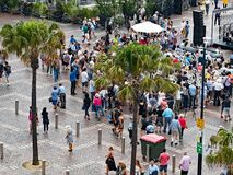 Australia Day Crowds, Circular Quay, Sydney. Crowds gathered at an Australia Day citizenship ceremony at Circular Quay, Sydney Harbour, Sydney central business royalty free stock image