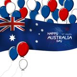 Australia day design of flag and balloon with firework. Australia day design of flag and balloon with firwork on white background vector illustration Stock Images