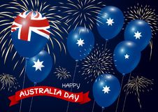 Australia day design of flag and balloon with fireworks Royalty Free Stock Photography