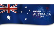 Australia day design of flag and firework vector illustration. With copy space Royalty Free Stock Photos