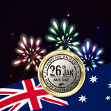 Australia day with emblem and flag. Colorful fireworks on black. Background. Night sky with stars and salute for australia day in vector. Blue, green, yellow Stock Photos