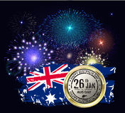 Australia day with emblem and flag. Colorful fireworks on black Royalty Free Stock Images