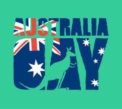 Australia Day emblem holiday. Kangaroos and Australian flag. Log Stock Images