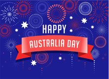 Australia day, fireworks and celebration poster design. Australia day, fireworks and celebration background, poster, banner Stock Photos